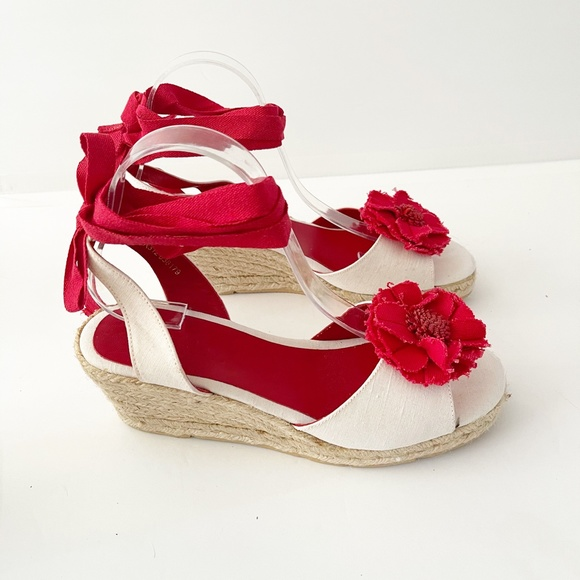 Boden Red Canvas Flower lace up espadrille wedge